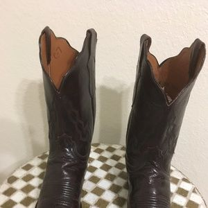 LUCCHESE BLACK CHERRY WESTERN BOOTS 10 B